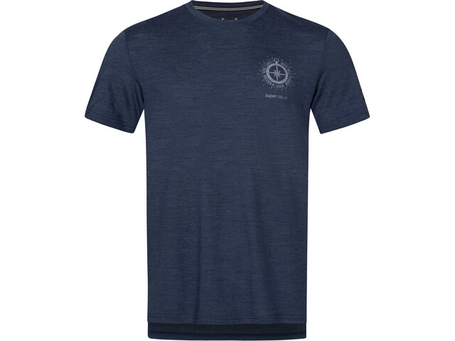 super.natural Graphic T-shirt Homme, blue iris melange/light grey wanderer